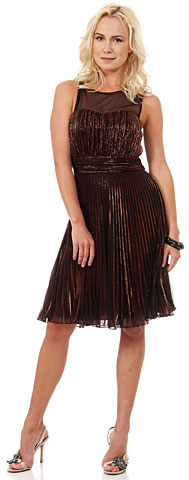 Sheer Neckline Pleated Short Metallic Formal Party Dress. 11460.