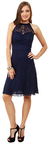 Halter Neck Floral Lace Short Party Party Dress. 11464.