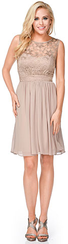 Floral Lace Top Short Bridesmaid Dress. 11467.