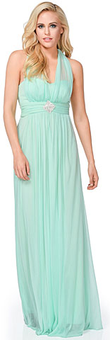 Halter Neck Empire Waist Long Formal Bridesmaid Dress. 11468.