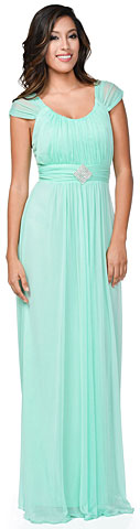 Scoop Neck Broad Straps Shirred Long Formal Bridesmaid Dress. 11469.