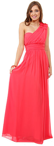 One Shoulder Long Formal Bridesmaid Dress with Floral Applique. 11471.