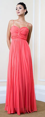 Pleated Bust Spaghetti Straps Long Formal Bridesmaid Dress. 11498a.