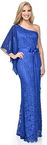 One Shoulder Flutter Sleeve Lace Long Formal Dress. 11504.