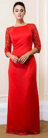 Sequin Lace Sleeves Full Length Formal Bridesmaid Dress. 11515.
