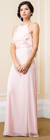Halter Neck Ruffled Bodice Long Bridesmaid Dress. 11523.