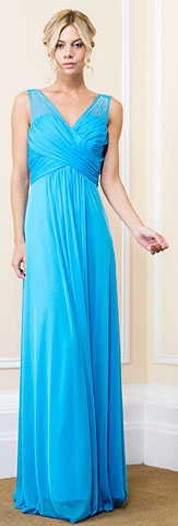 V-Neck Bejeweled Shoulders Ruched Formal Bridesmaid Dress