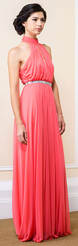 High Halter Neck Long Formal Bridesmaid Dress with Keyhole