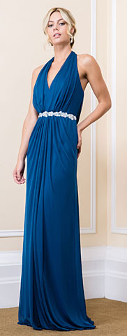 Halter Neck Floral Waist Long Bridesmaid Maxi Dress. 11528.