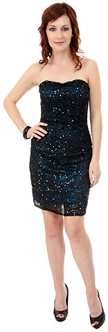 Strapless Short Prom Dress Fully Hand Beaded Sequins. 1152.
