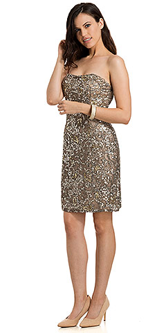 Strapless Short Party Dress Fully Hand Beaded Sequins. 1152.