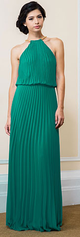 Pleated Halter Neck Blouson Top Long Bridesmaid Dress. 11531.
