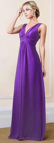 Deep V-Neck Ruched Bust Long Formal Bridesmaid Dress. 11535.