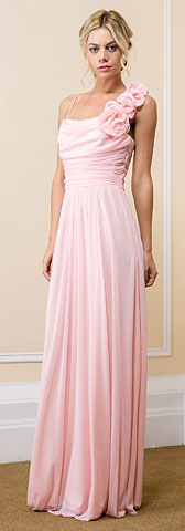 Ruched Bust Floral Shoulder Long Bridesmaid Gown. 11537.