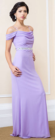 Off Shoulder Cowl Neck Long Bridesmaid Evening Dress