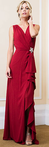 V-Neck Wrap Style Front Slit Long Bridesmaid Dress. 11541.