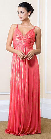 Metallic Print Long Formal Maxi Dress with Twisted Straps. 11545.