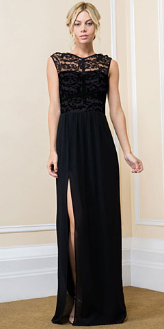Lace Top Boat Neck Long Bridesmaid Gown with Front Slit. 11548.