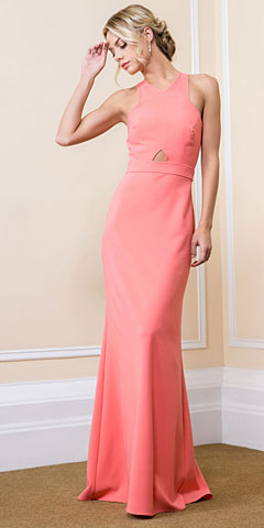 Halter Neck Criss Cross Back Long Formal Evening Dress. 11549.
