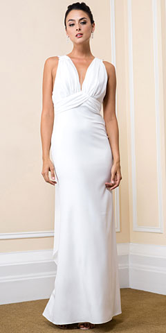 Deep V-Neck Lace Back Long Formal Bridesmaid Dress. 11551.