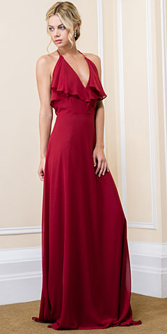 Halter Neck Flutter Top/Sleeve Long Formal Evening Dress. 11557.