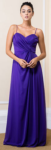 Wrap Style Ruched Long Bridesmaid Dress. 11559.