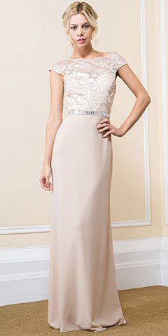 Floral Bodice Bejeweled Waist Long Formal Evening Dress. 11562.