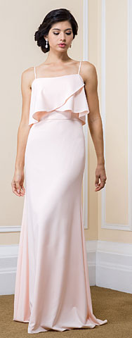 Square Neckline Flutter Top Long Formal Bridesmaid Dress. 11563.