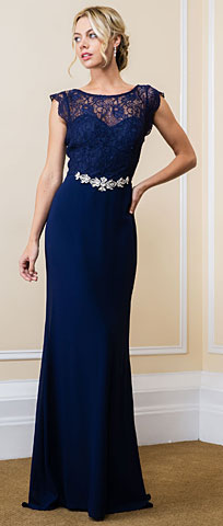 Lace Bodice Bejeweled Waist Long Formal Evening Dress. 11567.