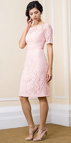 Boat Neck Half Sleeves Knee Length Lace Formal Evening Dress