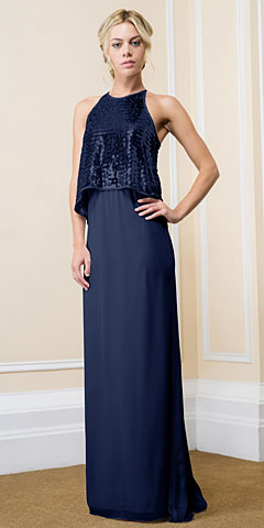Sequin Overlay Top Long Formal Evening Sheath Dress. 11570.