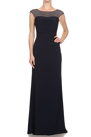 Cap Sleeve Mesh Top Formal Evening Dress with Rhinestones. 11571.