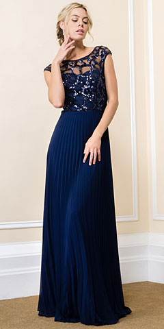 Boat Neck Sequins Mesh Top Pleated Long Formal Evening Dress. 11576.