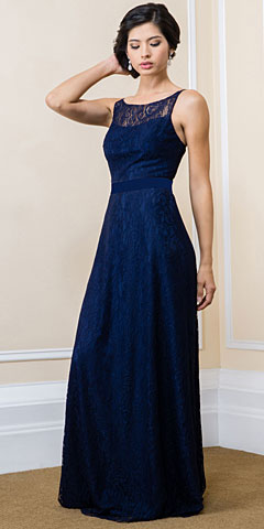 Floral Lace Long Formal Bridesmaid Dress with Satin Belt