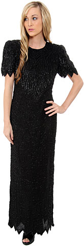Long Sequin Beaded Leaf Print Sequin Formal Dress. 116120.