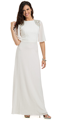 Short Sleeves Jewel Shoulders Long Formal Evening Dress. 11682.