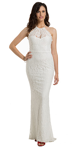 Sleeveless Floral Lace Fitted Formal Evening Gown