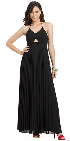 Halterneck Maxi Style Pleated Skirt Formal Formal Dress . 11704.