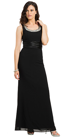 Rhinestones U-Neck Sleeveless Formal Evening Gown.
