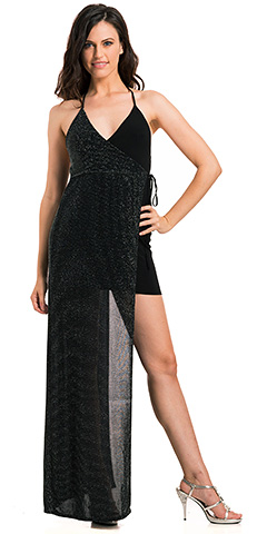 Halter Layered Lurex with Solid Knit  Fitted Cocktail Dress. 11739.