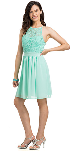 Sleeveless Sequins Lace Top A-line Bridesmaid Party Dress