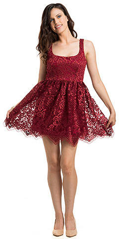 Fit & Flare Square Neck Lace Mini Cocktail Party Dress