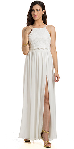 Crop Top Two Piece Evening Gown with Slit. 11780.