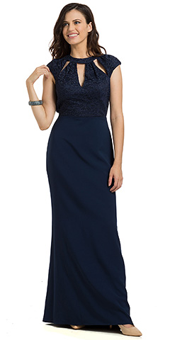 Lace Top Cutout Neckline Open Back Formal Evening Gown. 11788.