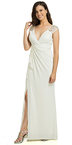 c2a3ff75c508 V-Neck Sequins Accent Gathered Waist Formal Evening Gown. 11790.