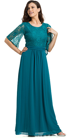 Lace Top Pleated Waist 3/4 Sleeves Bridesmaid Evening Gown