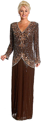 V-Neck Handbeaded Long Sequin Evening Gown with Full Sleeves. kd123.