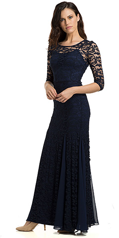 Round Neck Chiffon Panel Details Lace Formal Evening Gown . 11815.