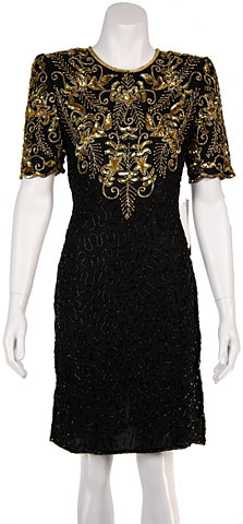 Short Sequin Floral Bodice Sequin Formal Dress. 12115.