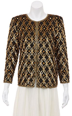 Patterned Leaves Beaded Design Long Jacket